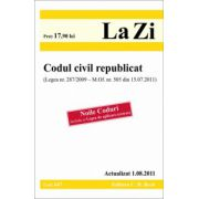 Codul civil republicat (Legea nr. 287/2009 - M. Of. nr. 505 din 15.07.2011).Actualizat 1.08.2011