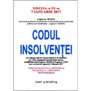Codul insolventei - editia a IV-a - 18 iulie 2016 - verificat si retiparit fara modificari - 7 ianuarie 2017