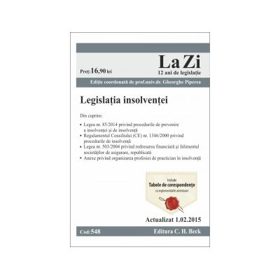 Legislatia insolventei. Actualizat la 1. 02. 2015
