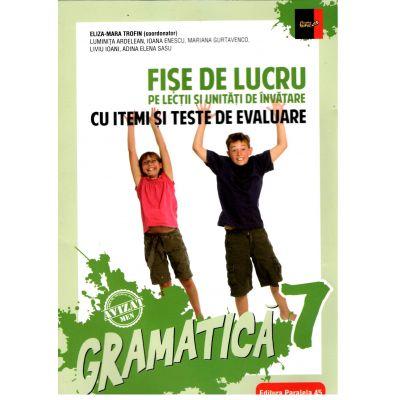 Gramatică. Fișe de lucru (pe lecții și unități de învățare cu itemi și teste de evaluare). Clasa a VII-a ( 2018-2019)