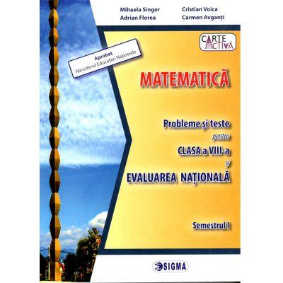 Evaluarea Nationala 2019 Matematica - Probleme si teste pentru clasa a VIII-a, semestrul I - Mihaela Singer, Sigma